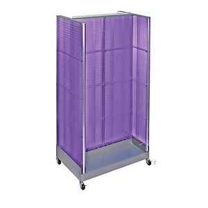 Purple Neon Plastic Pegboard Floor Display H Unit On Wheeled Base 36 w X 66 H
