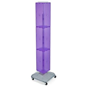 New Purple Interlocking Pegboard Display With Square Wheeled Base 8 X 8 X 60