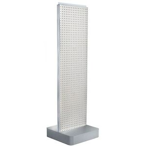 New White Two sided Pegboard Floor Display On Square Metal Base