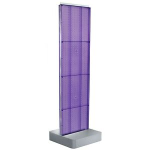 New Purple Two sided Pegboard Floor Display On Square Metal Base