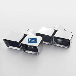 Pair 2 5 In Dual Square Rectangle Stagger Universal Exhaust Tips