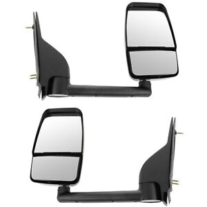 Pair Of 03 17 Chevy Express Savana Van Textured Black Manual Tow Mirror Lh Rh
