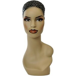 Mn 303 African American Female Mannequin Head Form Display W Pie