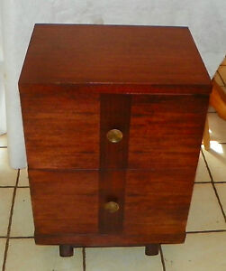 Mid Century Mahogany 2 Drawer Nightstand Ns44