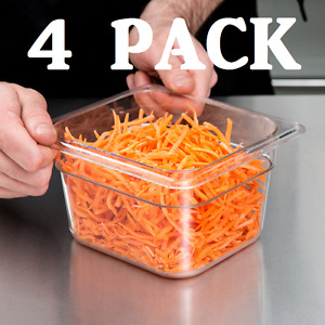 4 Pack 1 6 Size Clear Plastic Steam Prep Table Food Pan 4 Deep Polycarbonate