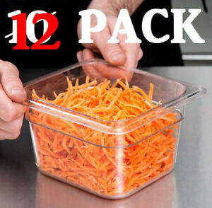 12 Pack 1 6 Size Clear Plastic Steam Prep Table Food Pan 4 Deep Polycarbonate