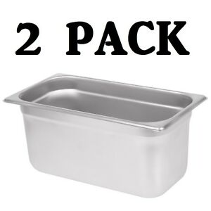 2 Pack 1 3 Size Stainless Steel Steam Prep Table Commercial Food Pan 6 Deep