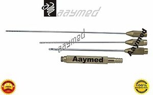 Liposuction Cannula 3 Sizes Plasma Gold Plastic Surgery Instruments Stainless St