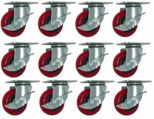 24 Pack 3 Caster Wheels With Brake Lock 300lbs Swivel Rigid Polyurethane Plate