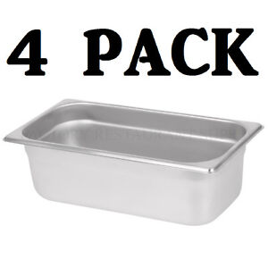4 Pack 1 3 Size Stainless Steel Steam Prep Table Pan Commercial Food 4 Deep