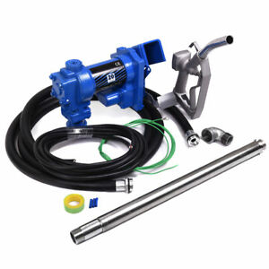 12v Dc 20gpm Gasoline Fuel Transfer Pump Gas Diesel Kerosene W Nozzle Kit