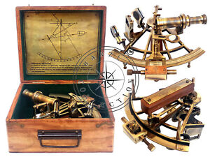 Henry Barrow Co London 8 Brass Ship Sextant German Sextant With Hardwood Box
