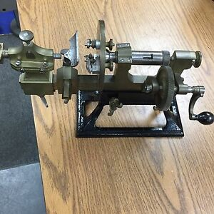 Antique Bench Model Jeweler s Watchmaker s Hand Operated Lathe