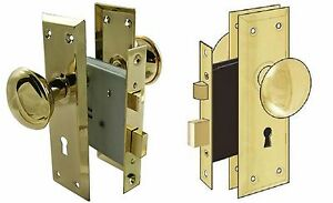 Door Brass Locks Antique Vintage Hardware Set Knob Mortise 2 1 4 In Handle New