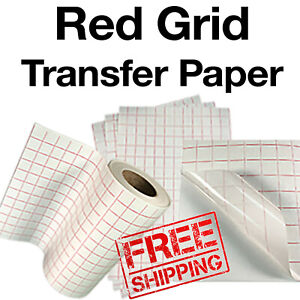 10 Sheets 12 x24 Transfer Paper tape lined W red Grid Vinyl Craft Cutter