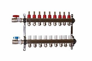 9 Loop port Stainless Steel Pex Manifold Radiant Heating