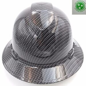 Hard Hat Full Brim Custom Hydro Dipped Osha Approved Carbon Fiber Gray New