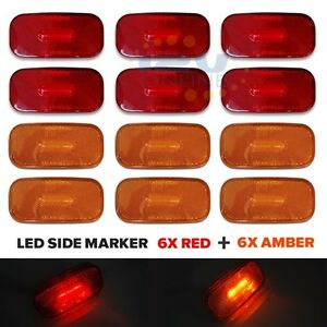 12pcs Led 12v Rv Trailer Side Marker Truck Lorry Auto Clearance Lights Red