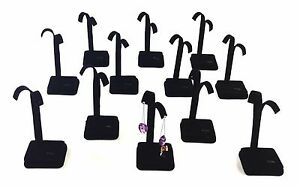 12 Pc Black Velvet Ring Earring Combo Stand Jewelry Showcase Display