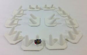 12 Pc White Leatherette Double Finger Ring Combo Stand Jewelry Showcase Display