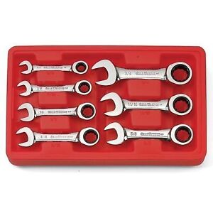 Gearwrench 9507d 7 Piece Sae Stubby Ratcheting Wrenches 3 8 3 4 New