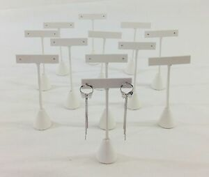12pc White Leatherette Tbar Shape Earring Stand Jewelry Showcase Display 5 h