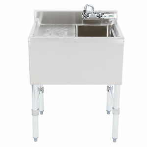 New 1 Bowl Underbar Stainless Steel Hand Wash Sink Left Drainboard Commercial