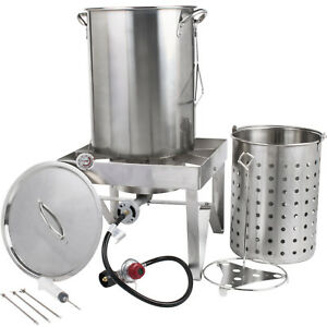 30 Qt Stainless Steel Turkey Deep Fryer Kit Steamer Stock Pot Propane Lp Outdoor
