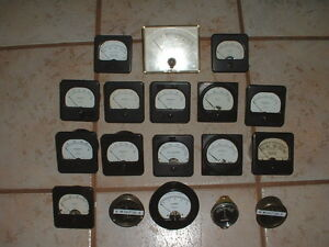 Lot 18 Vintage Electrical Gauge Steampunk Weston Triplet Volts amps milliamperes
