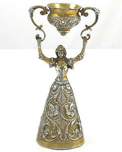 German 800 Silver Wedding Or Wager Cup 7 Vermeil C1900