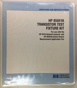 Hp 85041a Transistor Test Fixture Kit Operating Service Manual 85041 90001
