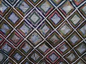Antique Vintage Quilt Top Silk Crazy Design Multi Color Cotton Back Lined 69x85