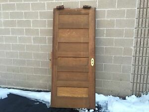 C1890 Quartersawn Oak Pocket Door 5 Panel Original Stain 84 5 X 37 X 1 75