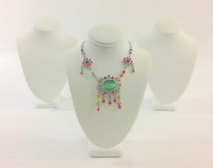 3pc White Leather Wood Necklace Bust Stand Jewelry Showcase Display 7 5 h