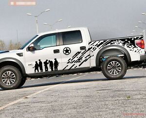 1set 2pcs Car Pickup Truck Army Brothers Graphics Side Decal Body Hood Sticker