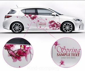A Set Rose Red Cherry Blossom Car Sticker Lovely Auto Body Flower Decal Emblems