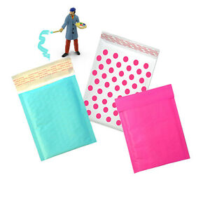 Hot Pink Aqua And Polka Dot Kraft Bubble Mailers Padded Envelopes 4x8