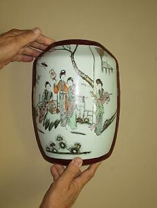 Antique Chinese Famille Rose Porcelain And Lacquer Wedding Basket Box Lid