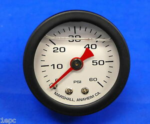 Marshall Gauge 0 60 Psi Fuel Oil Gas Pressure White Black Casing 1 5 Liquid