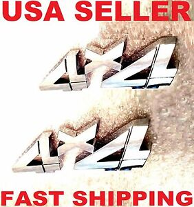 2x Chrome 4 X 4 Emblem 3d Truck F150 F250 F350 F450 4x4 Logo Sign Car Ornament Fits 1950 Ford