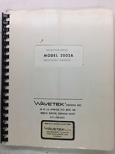 Wavetek 2002a Sweep Signal Generator Instruction Manual P n 4901 03 9040