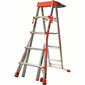 Adjustable Aluminum Rolling Wheels 5 8 Feet Step Ladder Garage Construction Tool