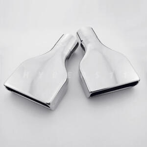 Pair Camaro Style Square Stainless Steel Exhaust Tips 2 5 Inlet 6 x2 Outlet