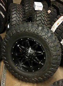 5 18 Fuel Hostage Black Wheels 35 Atturo Mt Tire Package Jeep Wrangler Tj Yj