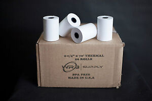 50 Rolls First Data Fd400 Thermal Paper 2 1 4 X 70