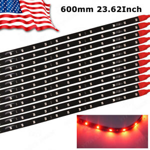 10x 60cm 24 Red Flexible Led Underbody Light Strip 2835 Smd For Car Motor 12v