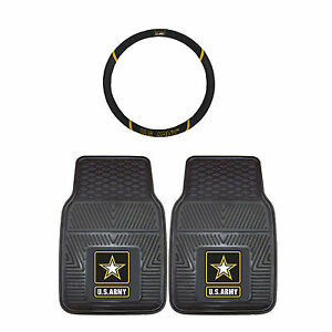United States Army Strong Rubber Floor Mats Steering Wheel Cover 3pc Combo