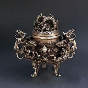 China Exquisite Tibet Silver 9 Dragon Beast Lion Head Incense Burner Statue