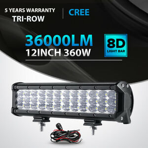 Tri row 360w 12inch Led Light Bar Spot Flood Offroad 4wd Jeep Truck Atv Ute 14