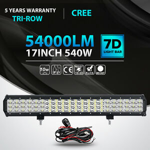 Tri Row Cree 17inch 540w Led Light Bar Combo Offroad Driving 4wd Truck Atv 18
